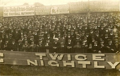 Reading supporters in old photo